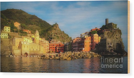 Welcome To Vernazza Wood Print