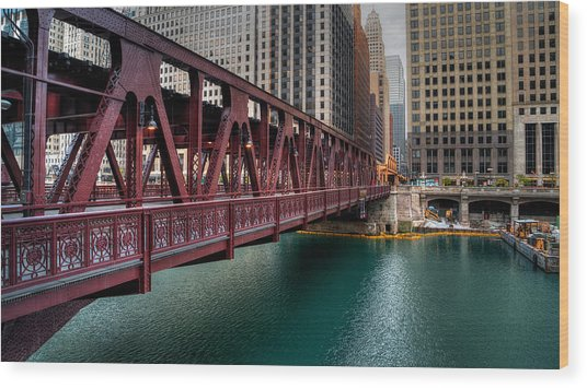 Well Street Bridge, Chicago Wood Print