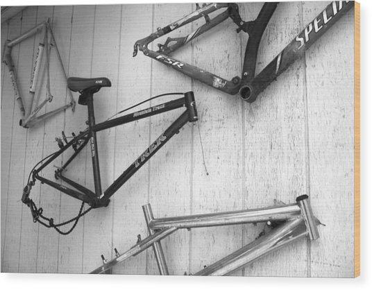 Well Worn Mountain Bike Frames  Wood Print