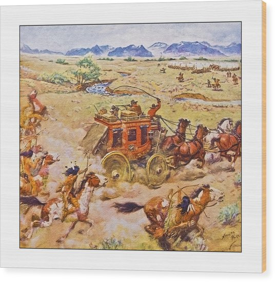 Wells Fargo Express Old Western Wood Print