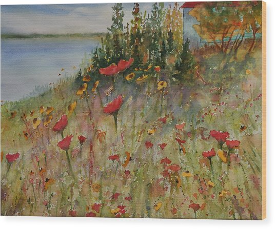 Wood Print featuring the painting Wendy's Wildflowers by Ruth Kamenev