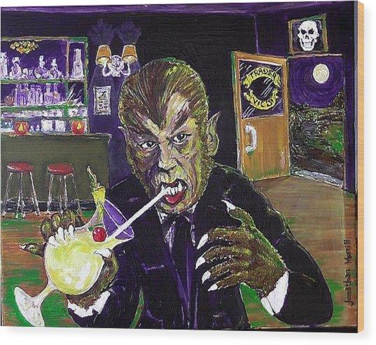 Werewolf Drinking A Pina Colada At Trader Vic's Wood Print