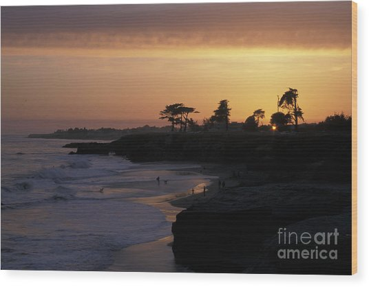 West Cliff At Sunset Wood Print by Stan and Anne Foster