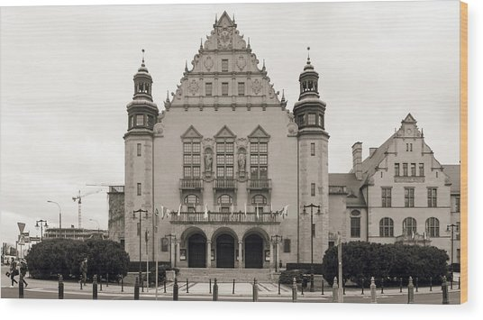 West Facade Of Adam Mickiewicz University Poznan Poland Wood Print