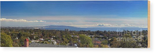 West La And Catalina Island From Pacific Palisades Wood Print