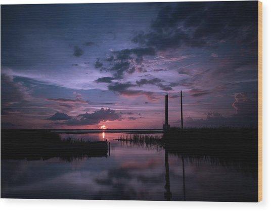 West Lake Toho Blu Indigo Sunset Wood Print