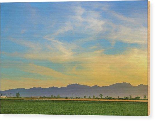 West Phoenix Sunset Digital Art Wood Print
