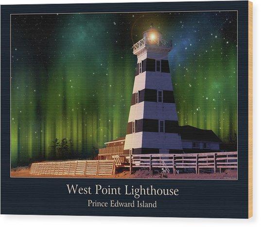 West Point Lighthouse Night Scene Wood Print