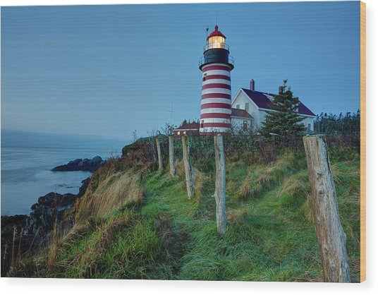 West Quoddy Head Light Wood Print