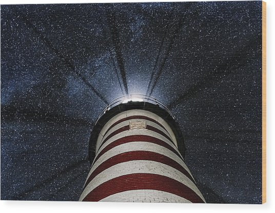 West Quoddy Head Lighthouse Night Light Wood Print