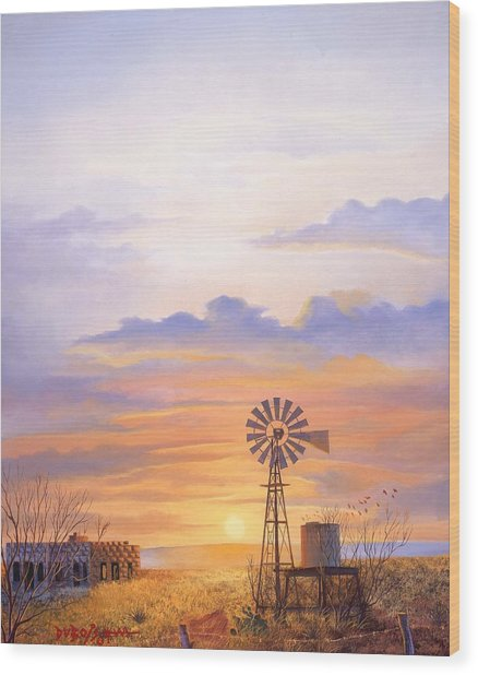 West Texas Sundown Wood Print
