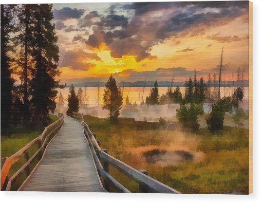 West Thumb Sunrise Wood Print
