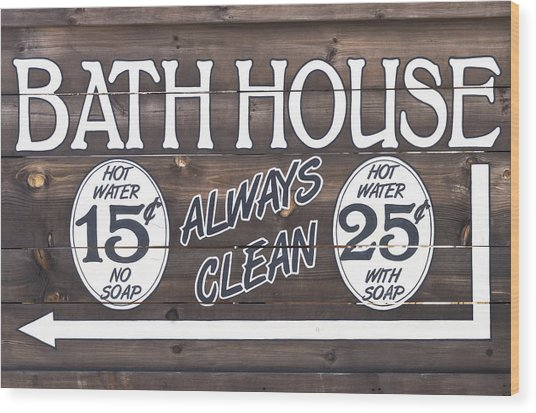 Western Bathhouse Sign Wood Print