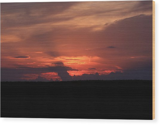 western Illinois Sunset Wood Print by Dave Clark