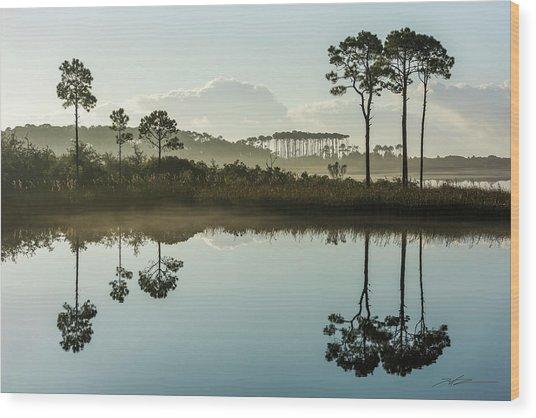 Western Lake Misty Morning Wood Print