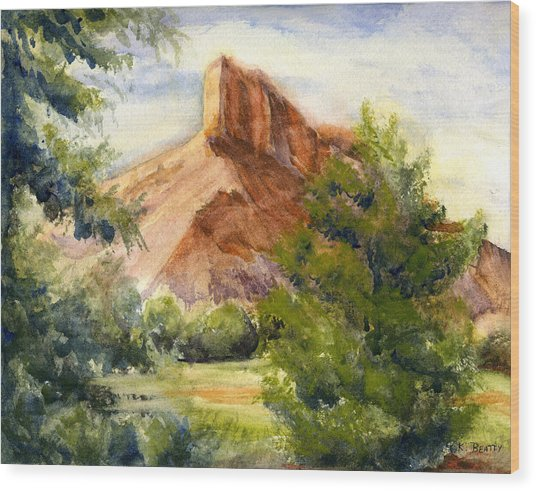 Western Landscape Watercolor Wood Print