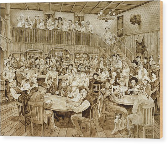 Western Saloon Wood Print