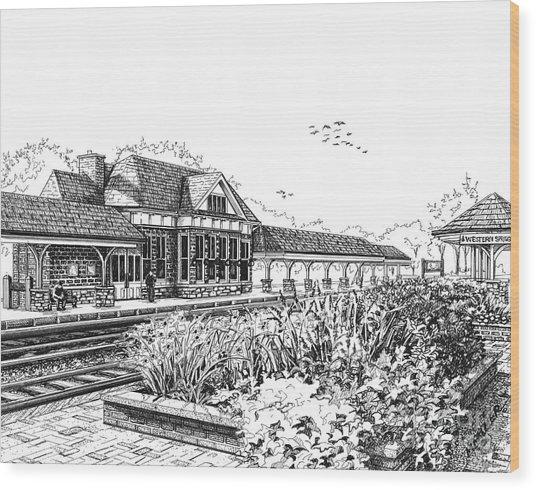 Western Springs Train Station Wood Print