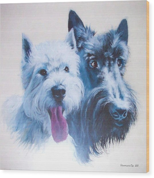 Westie And Scotty Dogs Wood Print