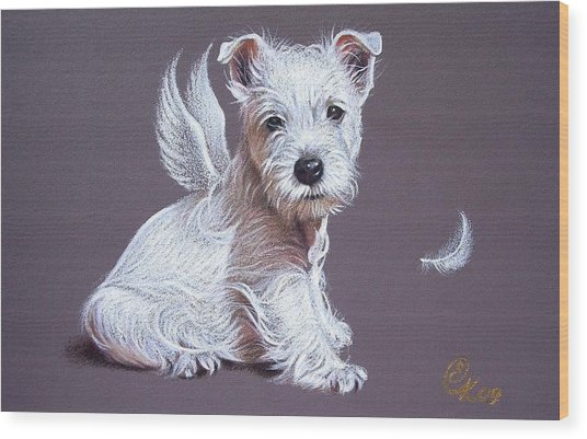 Westie Angel Wood Print
