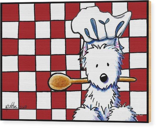 Westie Chef Wood Print