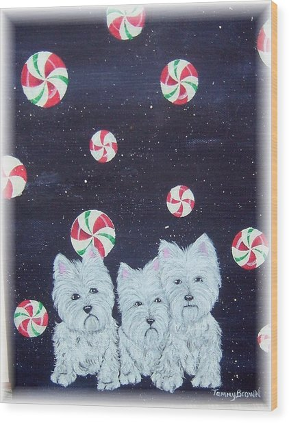 Westies In Candy Land Wood Print by Tammy Brown