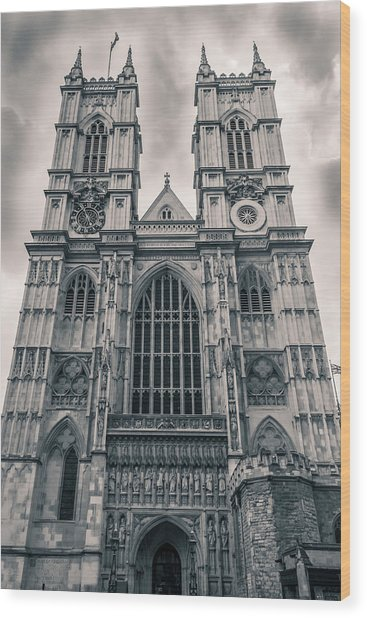 Westminister Abbey Bw Wood Print