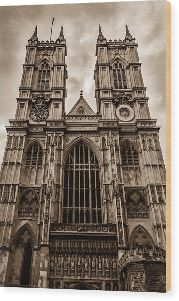 Westminister Abbey Sepia Wood Print
