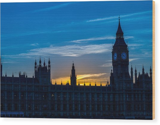 Westminster Parlament In London Golden Hour Wood Print