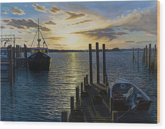 Westport Harbor Wood Print by Bruce Dumas