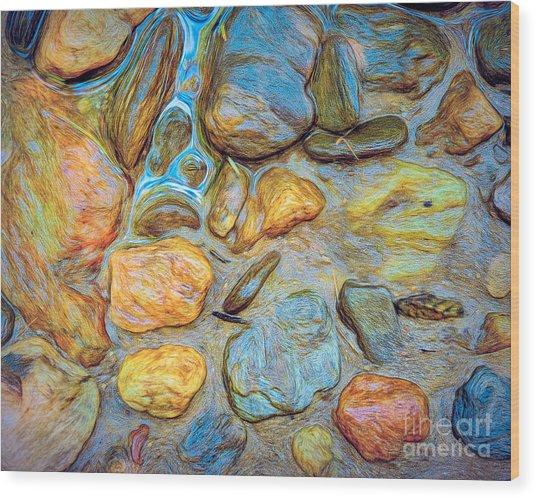 Wet Stones Wood Print