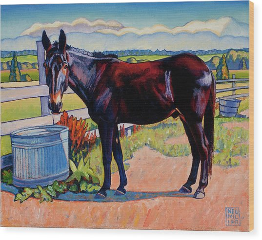 Wetting His Whistle Wood Print
