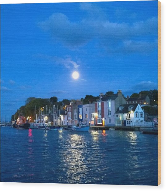 Weymouth Harbour, Full Moon Wood Print