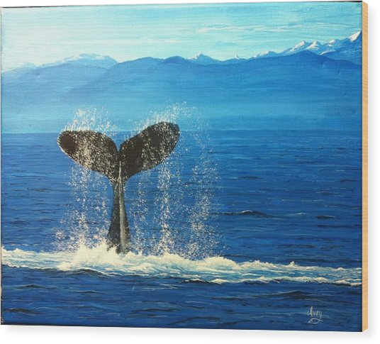 Whale Of A Tail Wood Print