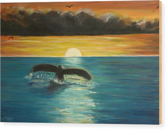 Whale Tail At Sunset  Wood Print