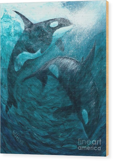 Whales  Ascending  Descending Wood Print