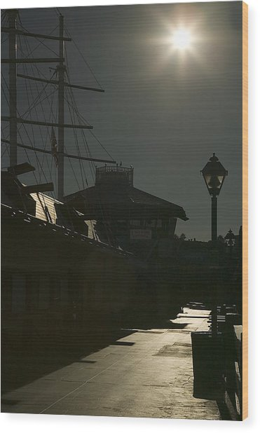Wharf At Night Wood Print by Clyde Replogle