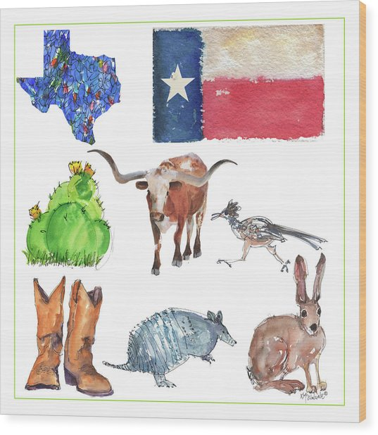 What Texas Loves, Texas Longhorn Watercolor Painting By Kmcelwaine Wood Print