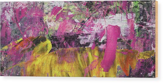 Whatever Makes You Happy - Large Pink And Yellow Abstract Painting Wood Print