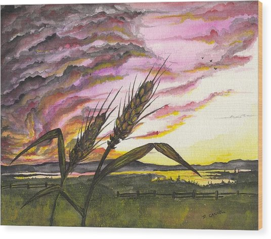 Wood Print featuring the painting Wheat Field by Darren Cannell