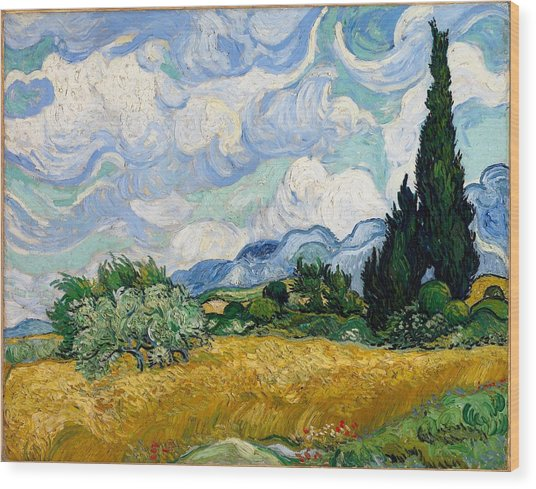 Wood Print featuring the painting Wheatfield With Cypresses by Van Gogh
