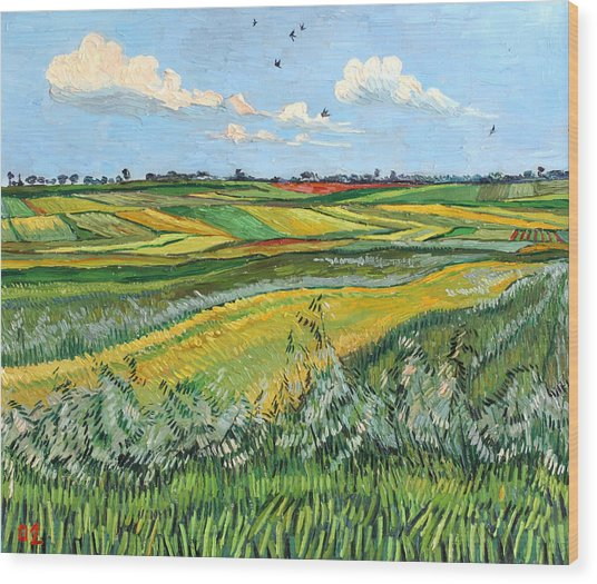 Wheat Fields And Clouds Wood Print by Vitali Komarov
