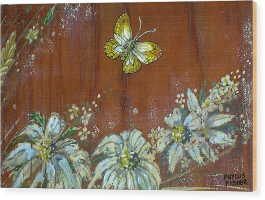 Wheat 'n' Wildflowers IIi Wood Print by Phyllis Mae Richardson Fisher