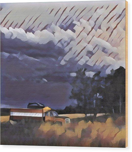 Wheat Wagon Wood Print