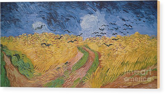 Wheatfield With Crows Wood Print