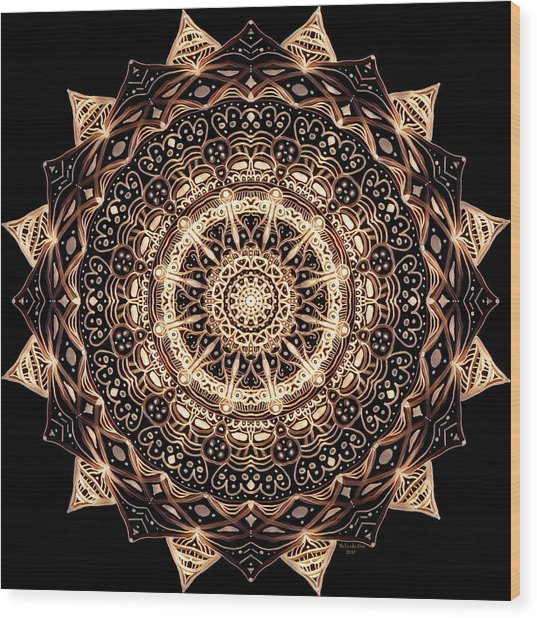 Wheel Of Life Mandala Wood Print