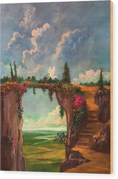 When Angels Garden In Heaven Wood Print