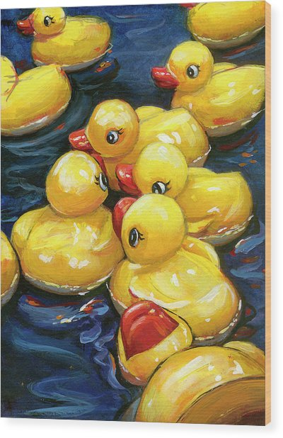When Ducks Gossip Wood Print