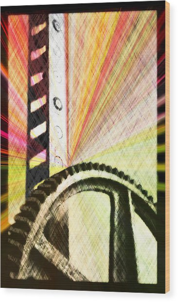 When Rack And Pinion Spark -- Zahnstangenfunkel Wood Print by Arthur V Kuhrmeier