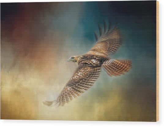 When The Redtail Flies At Sunset Hawk Art Wood Print